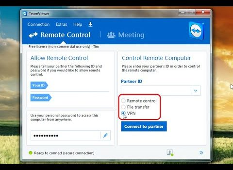 How to use Teamviewer to setup a Virtual Private Network (VPN) to connect  to a remote network